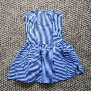 Strapless Blue and White Striped Dress